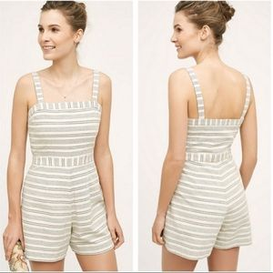 Anthropologie Paper Crown Striped Lexington Romper